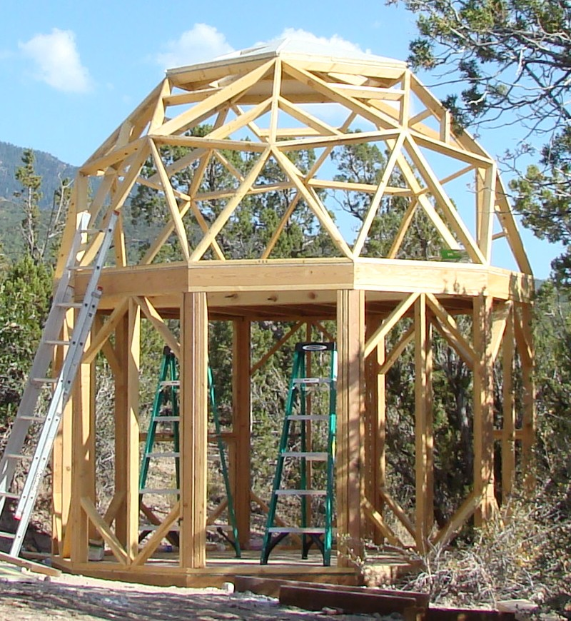 24 Geodesic Greenhouse 450 Square Feet: Small Round Dome Cabin Built With EconOdome Frame Kit